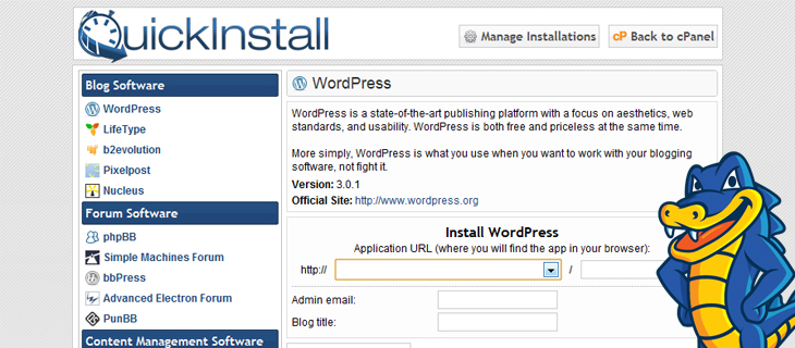 Installing WordPress in HostGator